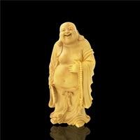 Chinese Wooden Buddha Statue Laughing Bouddha Statue Home Decoracion Buddhist Maitreya Buda Estatua Monk Carving Sculptures