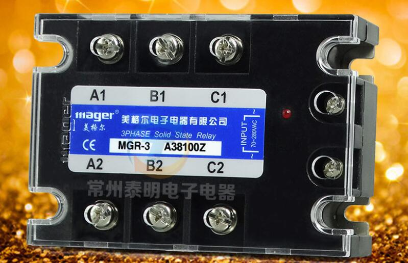 MGR Three - phase solid state relay AC - controlled alternating current MGR - 3 A38100Z 380V 100A normally open single phase solid state relay ssr mgr 1 d48120 120a control dc ac 24 480v