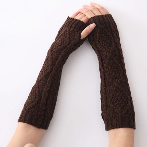 Newly 1pair Winter Mitten Warm Arm Fingerless Diamond Knitted Long  Men Women Fashion Accessories VK-ING