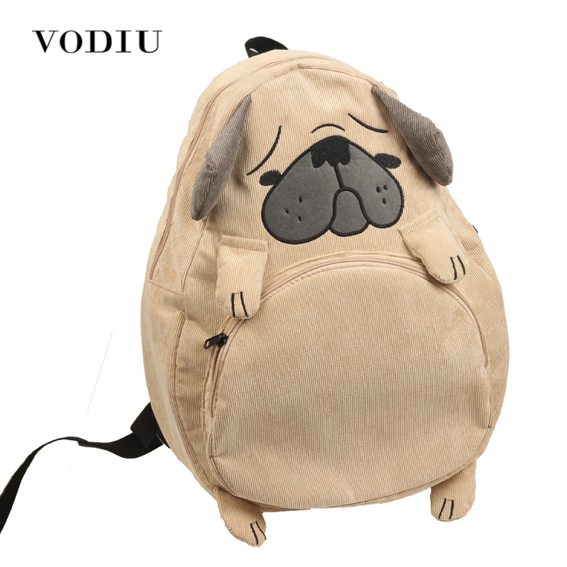 Women Backpack Schoolbag Canvas Cute Dog Fox Ear Embroidery Corduroy Backpa..
