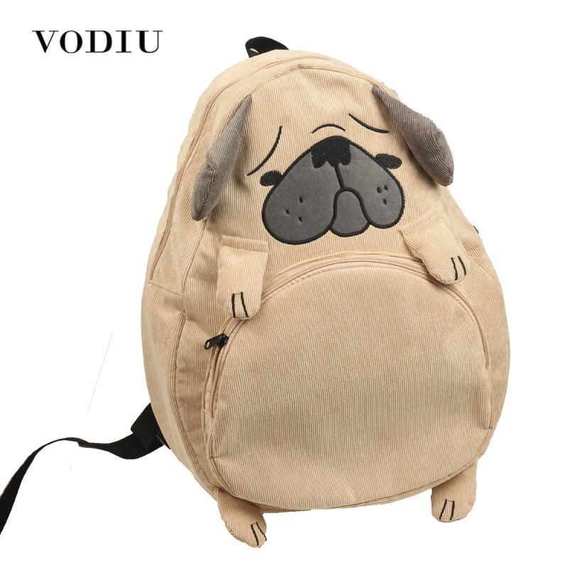 Women Backpack Schoolbag Canvas Cute Dog Fox Ear Embroidery Corduroy Backpack Female Vintage Notebook Backpack For Girls School