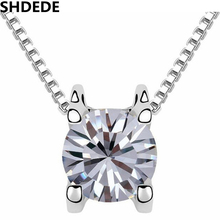 Фотография SHDEDE Box Chain Necklaces Pendants Cubic Zirconia Fashion Jewelry CZ Crystal White Gold Color Women Accessories Gift +6932
