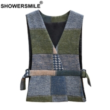 SHOWERSMILE Plus Size Women Vest Army Green Herringbone Waistcoat With Belt Female Double Sided Tweed Spring Ladies Gilet 5xl