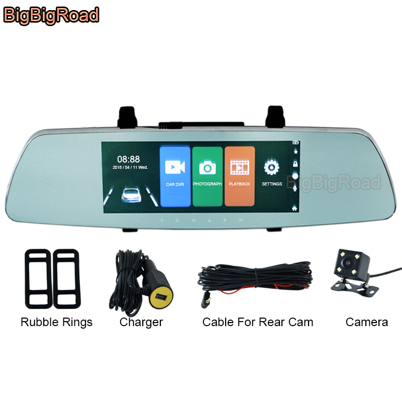 BigBigRoad Car DVR 7 Inch Dash Camera Touch Screen Rear View Mirror For Suzuki swift grand vitara sx4 s-cross jimny alto baleno