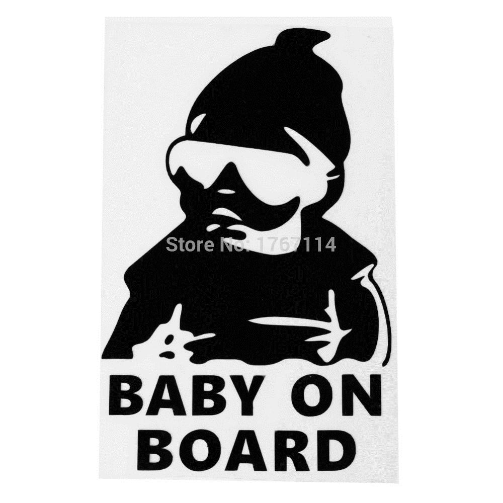 New balck cartoon baby on board decal car sticker waterproof cartoon logo rear safe warning sign cartoon car stickers cute