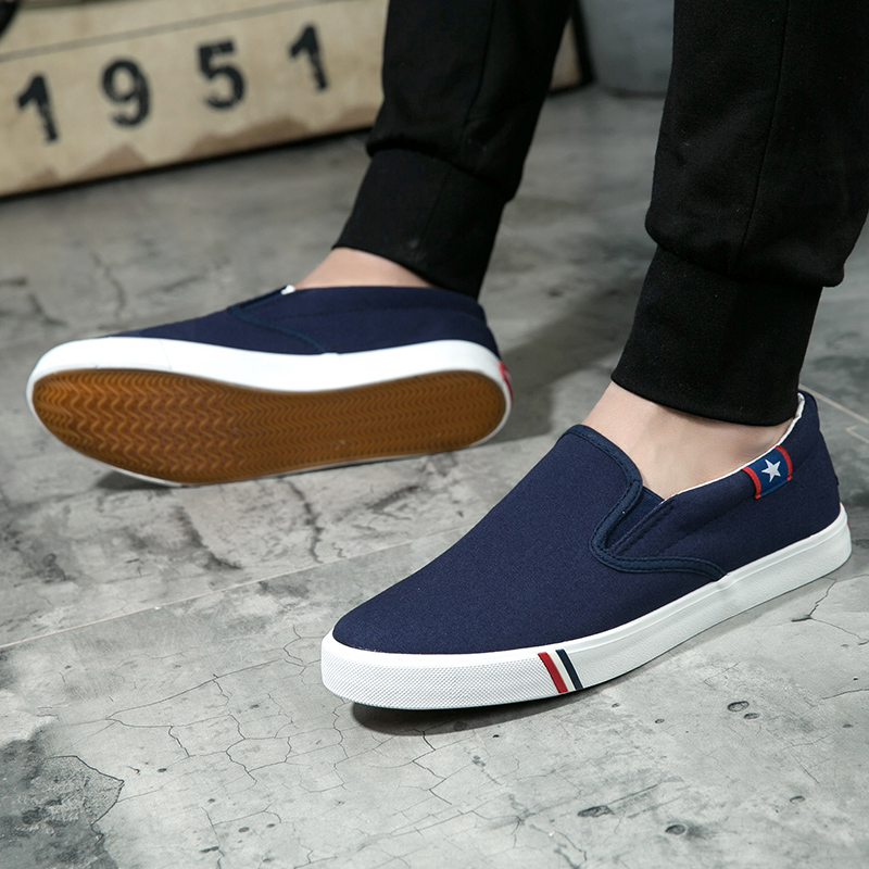 Image 5 - Men Canvas Shoes Simple Casual Mens Loafers 2019 Autumn High Quality Anti Slip Comfortable Vulcanized Shoes Man Flats Size 35 47-in Men's Casual Shoes from Shoes