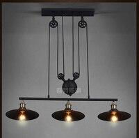 Nordic промышленные подвесные светильники RH Лофт шкив настраиваемый Выдвижной Поводок, Кофе подвесные E27 световая лампа современный освещени
