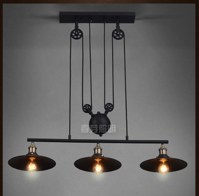 Nordic industrial pendant lamp lights rh loft pulley adjustable nordic industrial pendant lamp lights rh loft pulley adjustable retractable coffee hanglamp e27 light fixtures modern mozeypictures Gallery