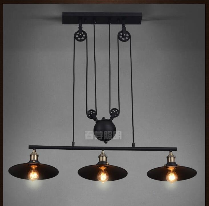 Nordic Industrial Pendant lamp Lights RH Loft Pulley Adjustable Retractable Coffee Hanglamp E27 Light Fixtures Modern Lighting