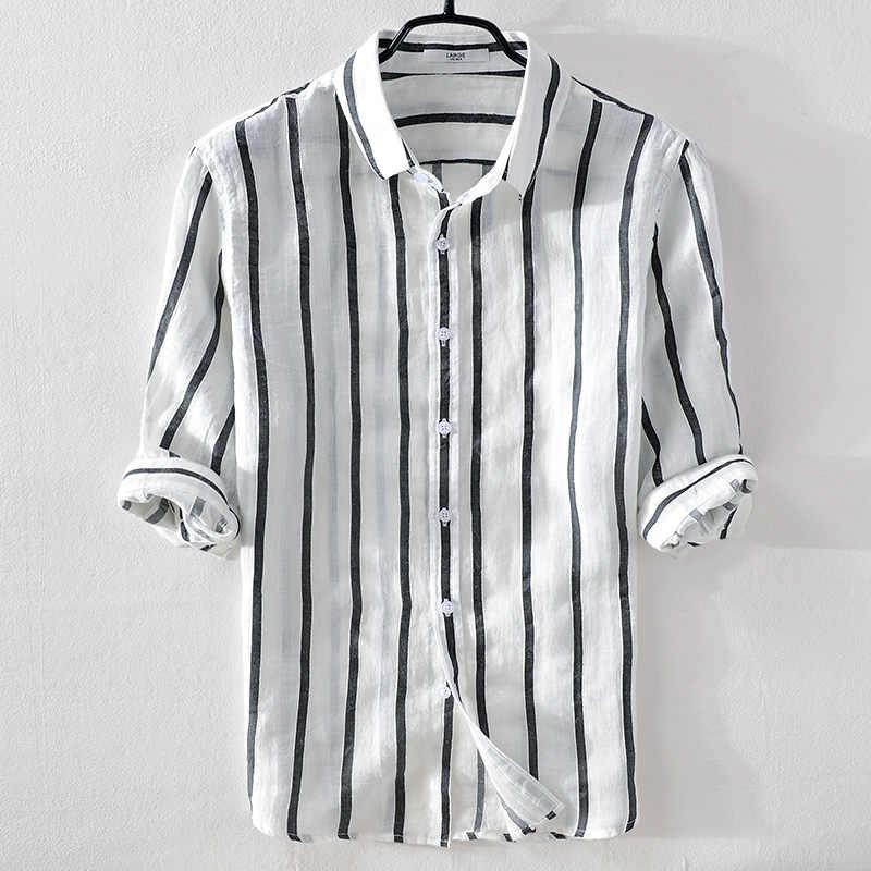 80be24298be Итальянские брендовые летние льняные мужские повседневные модные белые  полосы рубашки мужские Лен с отложным воротником Удобная