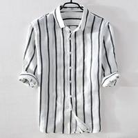 Italy brand summer linen men shirt casual fashion white stripes shirts men flax turn down collar comfortable shirt male chemise