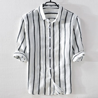 Italy brand summer linen men shirt casual fashion white stripes shirts men flax turn down collar comfortable shirt male chemise
