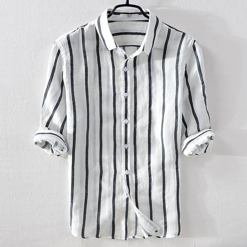 Italy Brand Summer Linen Men Shirt Casual Fashion White Stripes Shirts Men Flax Turn-down Collar Comfortable Shirt Male Chemise