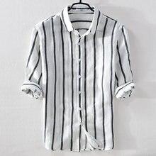 Chemise d'été en lin pour hommes, à rayures blanches, à la mode, col rabattu, confortable, de marque italienne