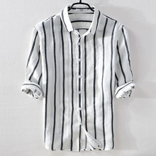 Suharvest Italy summer linen casual white stripes men flax turn-down collar