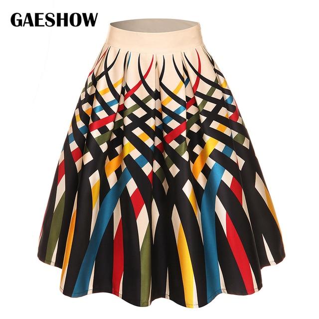 771e64b0bb4 Gaeshow Summer Autumn Geometric Floral Print Retro Skirt Cotton Casual  Flower Pleated Skirts Plus Size 4XL Women Vintage Skirts
