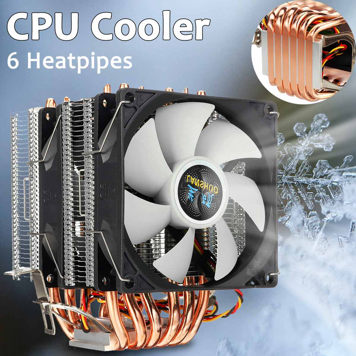6 Heat Pipes CPU Cooler Dual-side Fan Cooler Quiet Cooling Fan Heatsink Radiator For LGA 1150/1151/1155/1156/1366/775 For AMD