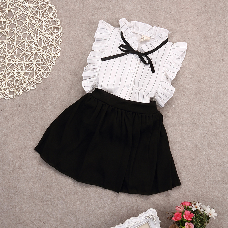 2016 summer chiffon Bow princess Shirts blouse+skirts 2pcs baby girl clothes sets conjuntos infantis 3~8age  Children skirt suit