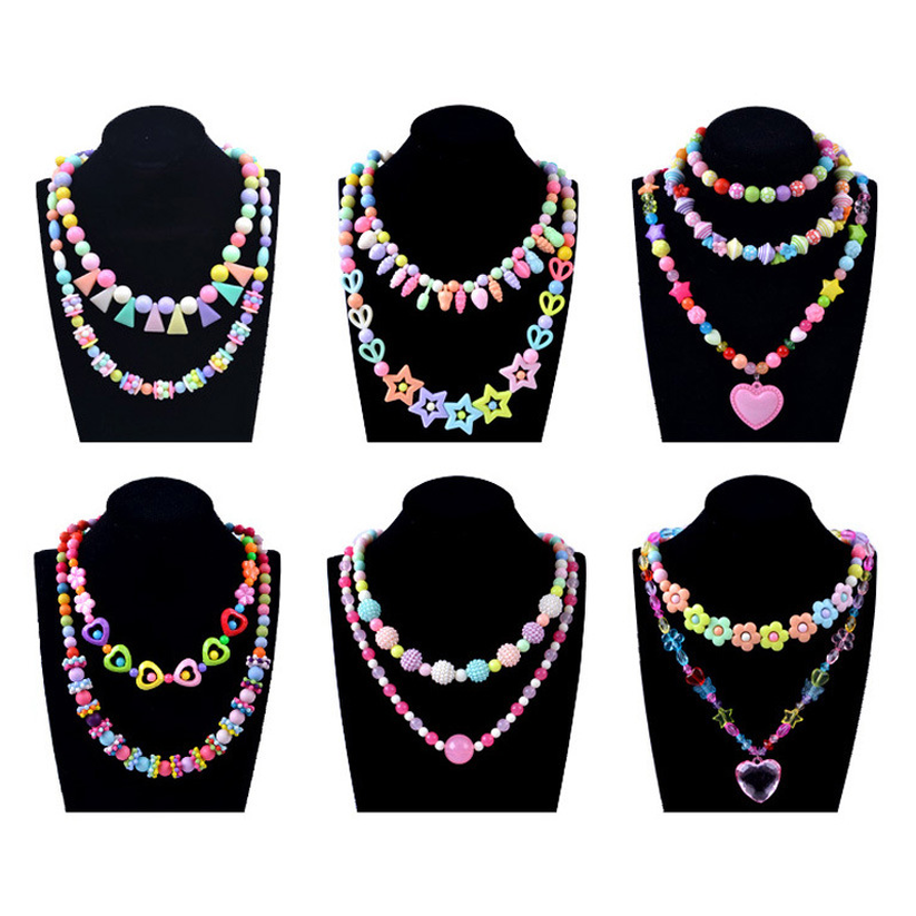 500PCS Creative Children Beaded Toy Girl Diy Children Handmade Puzzle Plastic Wear Beads Necklace  Arts And Crafts For Kids