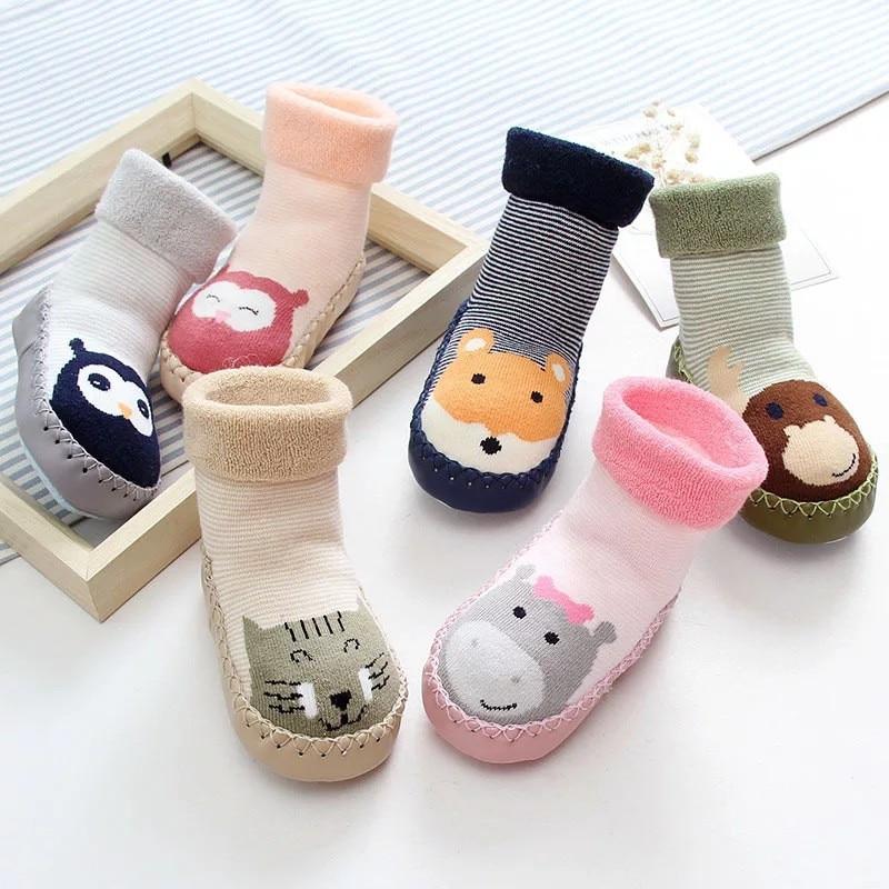 Newborn Baby Boys Girls Solid Casual Sox Anti-Slip Step Socks Shoes for 0-3 Yrs Toddler Infant Winter Warm Floor Socks