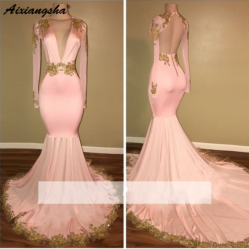 Pink 2019   Prom     Dresses   Mermaid V-neck Gold Appliques Lace Satin Backless Plus Size Long   Prom   Gown Evening   Dresses   Robe De Soiree
