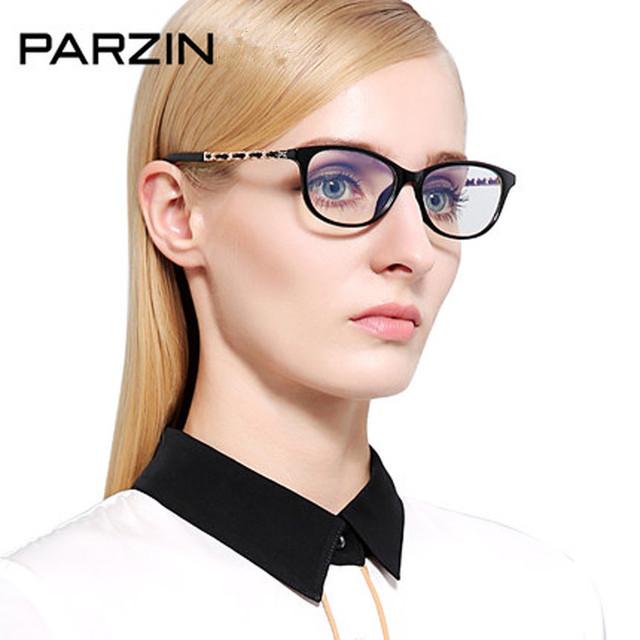Parzin Óculos Dobradiça De Metal Espelho Liso Mulheres Óculos Quadro de Moda Óculos de Armação Com Caixa preta 3335