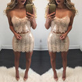 Two Piece Set Women Dress Gold Sequin Dress Spaghetti Strap Cropped Top + Skirt Womens Sexy Bodycon Party Club Wear Dresses