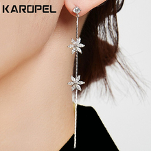 Cubic Zirconia Dangle Earrings Korean Long Simple Fashion Zircon Flower Tassel For Women Jewelry