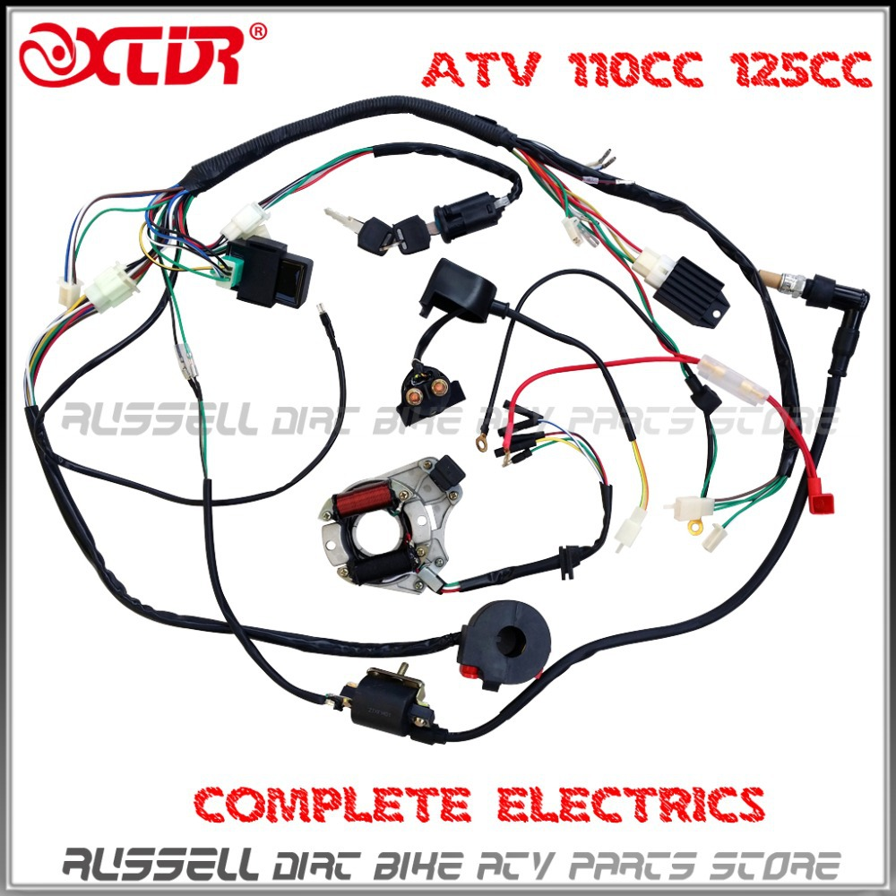 ATV QUAD wiring harness 50cc 70cc 110cc 125cc Ignition coil CDI Stator assembly wire aliexpress com buy atv quad wiring harness 50cc 70cc 110cc 125cc 110cc chinese atv wiring harness at mifinder.co