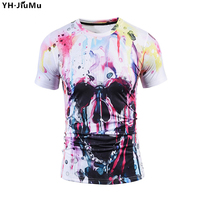 YH.JiuMu Summer Men T shirts Personality Skulls White O neck 3D Tops Tees Loose Fashion Casual Large Size T Shirts YH0075