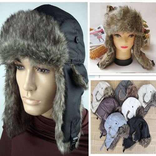 Plush Hat Mens Warmer Earflap Russian Trapper Trooper Bomber new fashion Winter Snow Hats Ear Cap