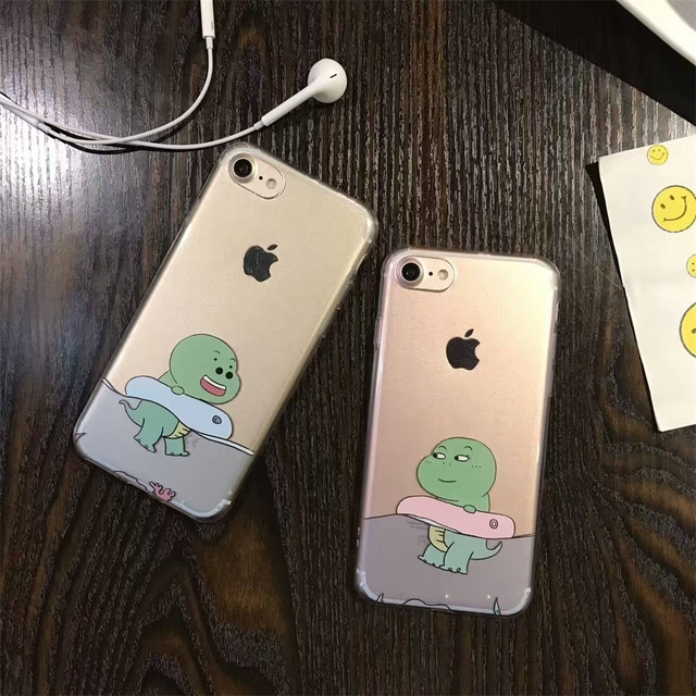 9905cba898 DTFQ Cute Cartoon Couple Phone Case Swimming Dinosaur Lovely Soft TPU Clear  Transparent Cover Skin for iPhone 6s 6 Plus 7 8 Plus