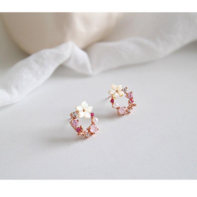 Stud-Earrings Jewelry Zircon-Shell 925sterling Rose-Gold-Color Silver Flower Fashion