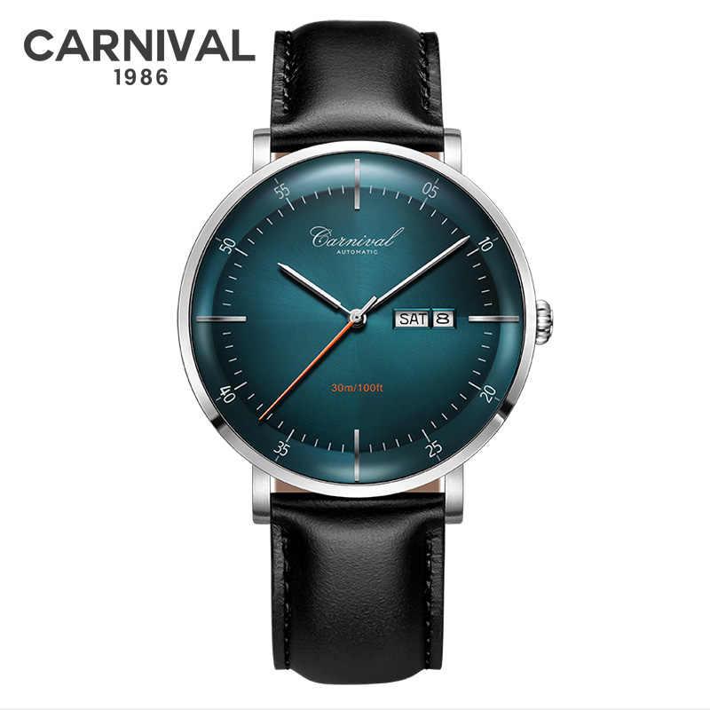 Miyota movimento relógios mecânicos marca superior carnaval moda relógio automático masculino calendário semana à prova dwaterproof água couro banda safira