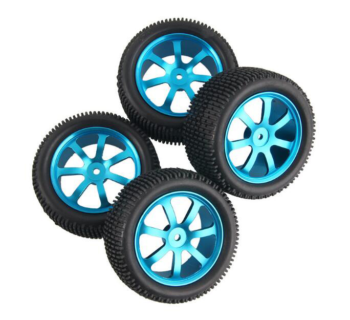 Free Shipping 4pcs 1/10 Buggy tires with Aluminium alloy metal wheels hub fit for HSP 94106/94166/94107 Kyosho RC Car model 2pcs rc car 1 10 hsp 06053 rear lower suspension arm 2p for 1 10 4wd rc car hsp 94155 94166 94177
