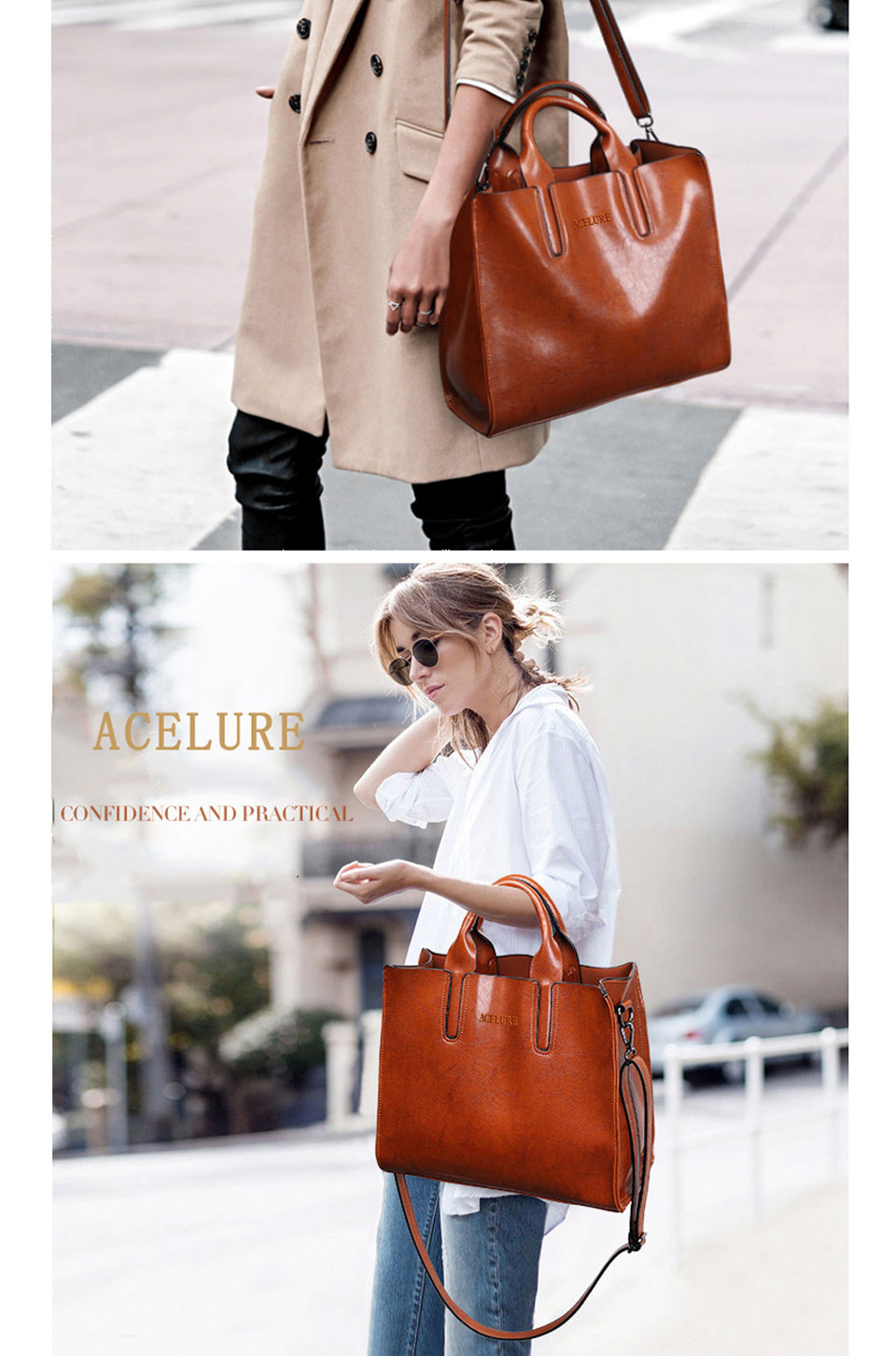ACELURE Leather Handbags Big Women Bag High Quality Casual Female Bags Trunk Tote Spanish Brand Shoulder Bag Ladies Large Bolsos 8