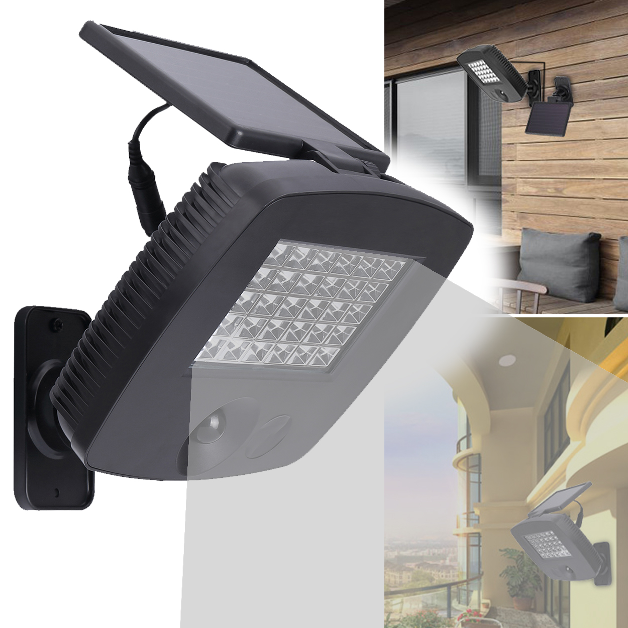 Outdoor Solar Power Bright PIR Motion Sensor Garage Garden