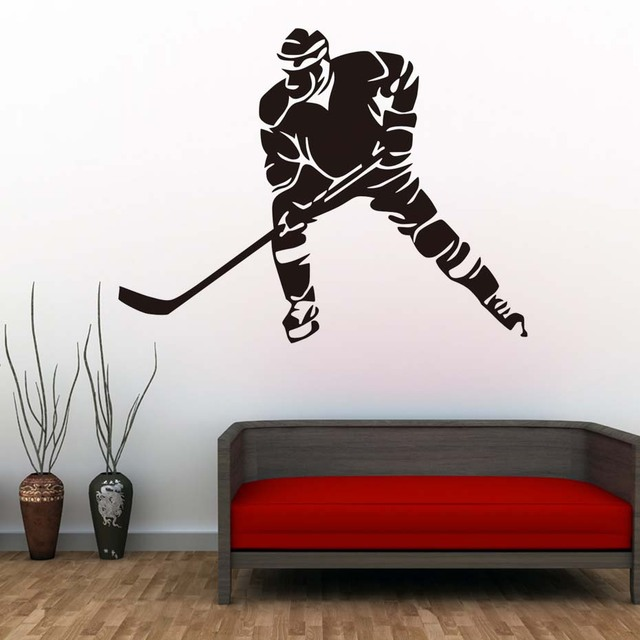 Hockey Player Wall Decals Ice Sports Vinyl Removable DIY Silhouette Wall  Stickers For Kids Room Nursery