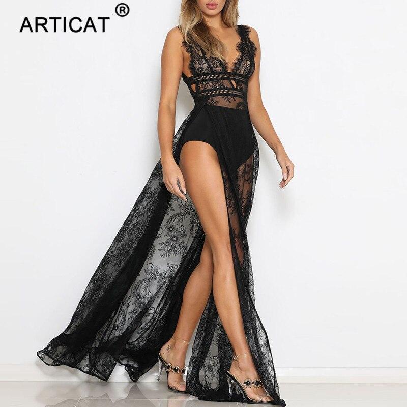 Articat-Vestido largo playero de mujer, vestido negro de encaje con abertura alta, de cintura alta, transparente, con escote en V y espalda descubierta para fiesta de verano 2020