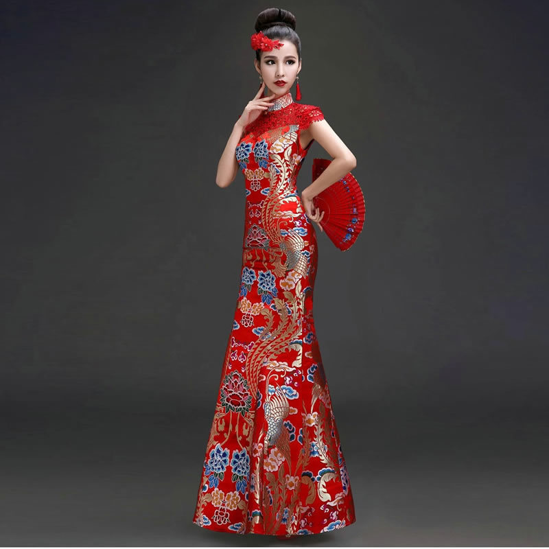 Bride Long Wedding Gowns Cheongsam Traditional Chinese Dress Qipao Modern Oriental Style Party Dresses Vintage Red Formal Women