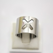 Women Stainless Steel Jewelry 15mm Width Shiny Silver Color Hollow Cross Ring Size 9 8 7 10