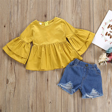 Baby Girs Outfits Toddler Kid Girls Ruffled Trumpet Sleeves Top Denim Shorts Set