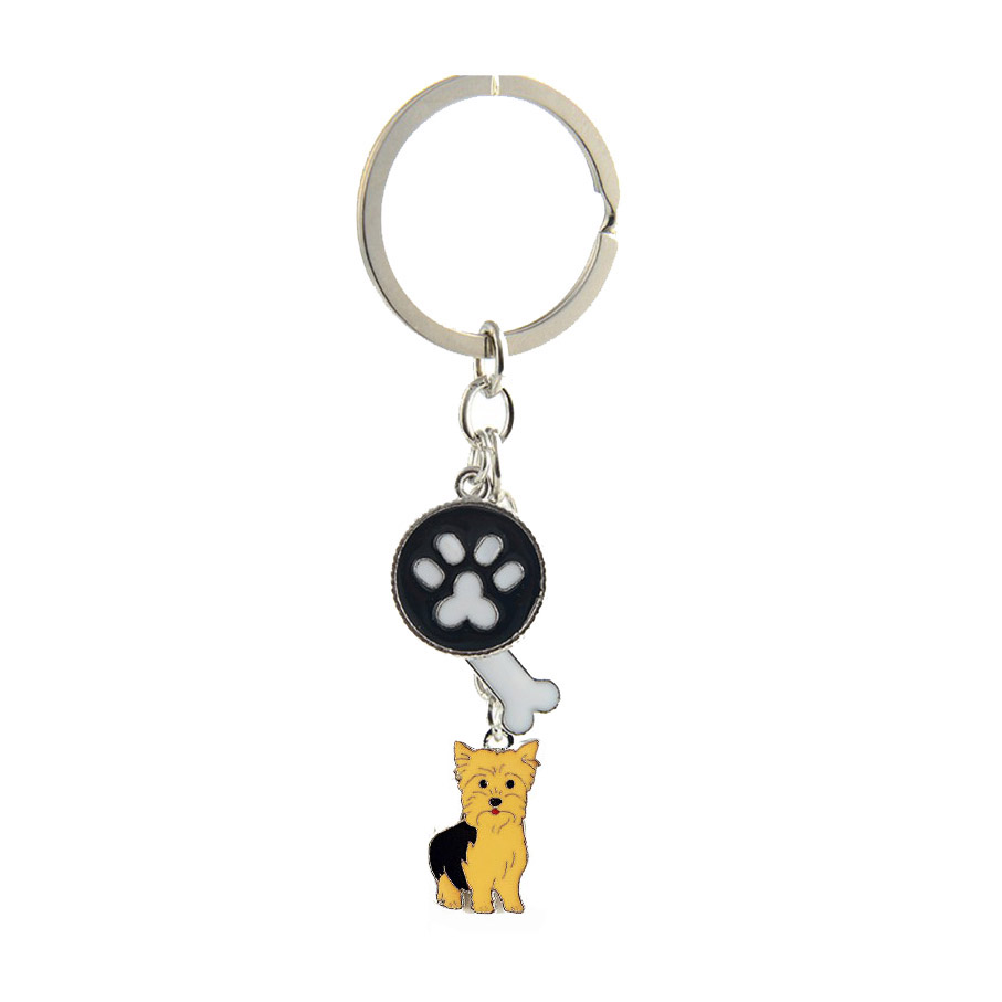 Yorkshire Terrier κρεμαστό κόσμημα μπρελόκ για γυναίκες άνδρες κορίτσια κράμα μετάλλων ασήμι χρώμα κατοικίδιο ζώο γοητεία τσάντα αυτοκινήτων τσάντα κλειδί δαχτυλίδι μπρελόκ δώρο