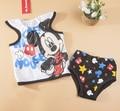 2015 новая детская одежда комплект roupa infantil летний ребенок костюм мультфильм микки минни 2 шт. комплект майка + underpant детской одежды