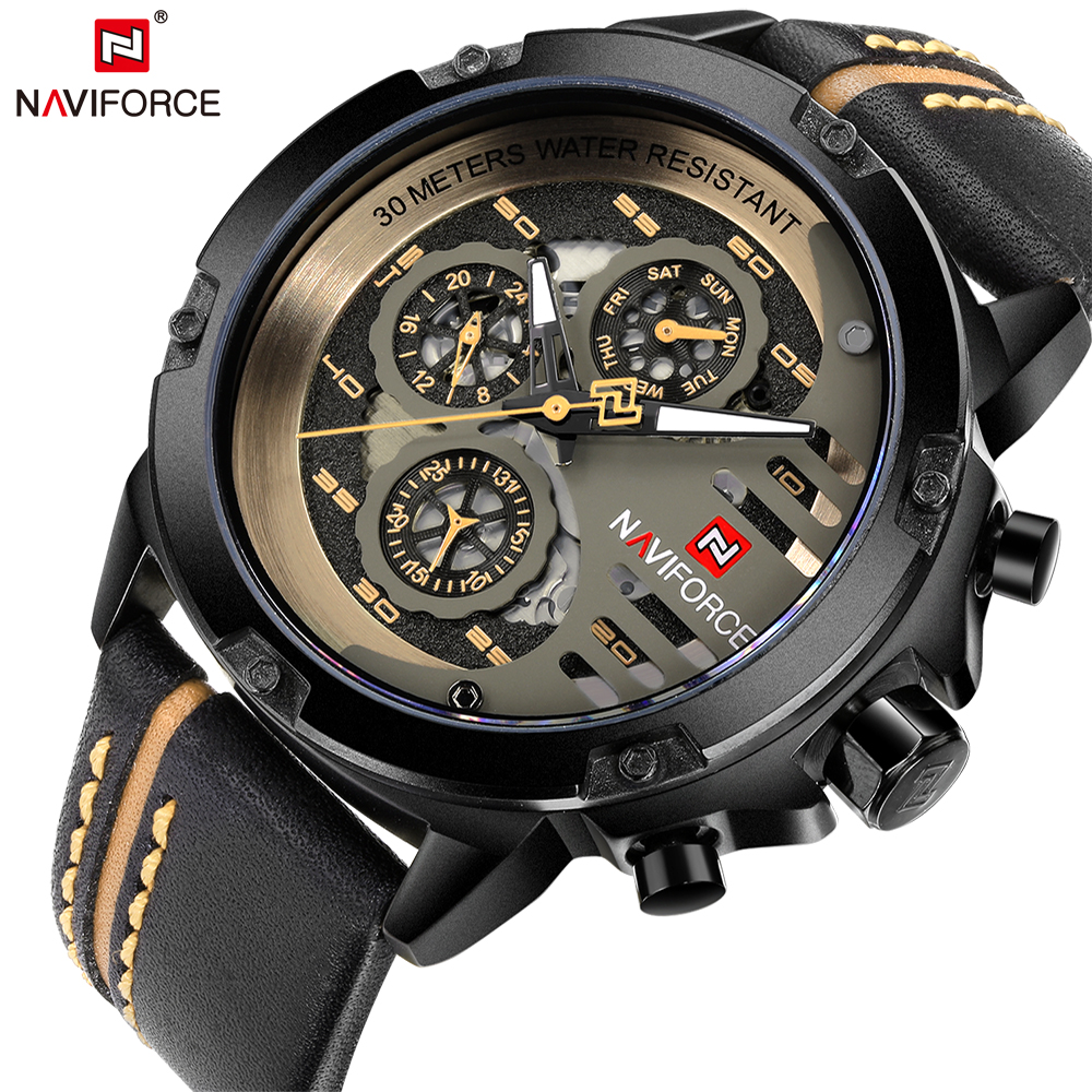 NAVIFORCE Top Brand Luxury Waterproof 24 hour Date Quartz Watch Men's Watches Man Leather Sport Wrist Watch Men Waterproof Clock цена