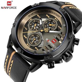 NAVIFORCE Top marka luksusowe wodoodporny 24 godziny zegarek Quartz z datą męskie zegarki człowiek skórzany Sport zegarek na rękę mężczyźni wodoodporny zegar