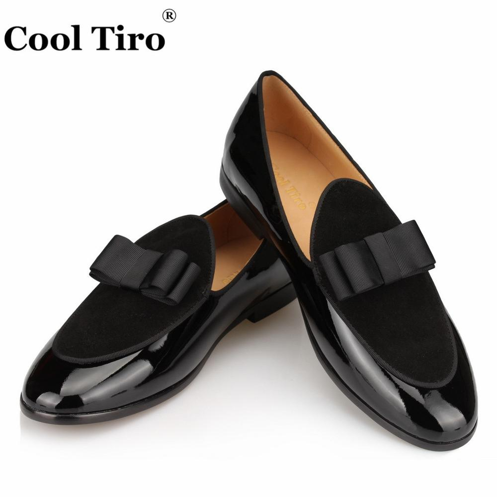 € 105.54 |Cool Tiro noir daim mocassins en cuir verni hommes pantoufles noeud papillon mocassins homme appartements de mariage hommes robe chaussures