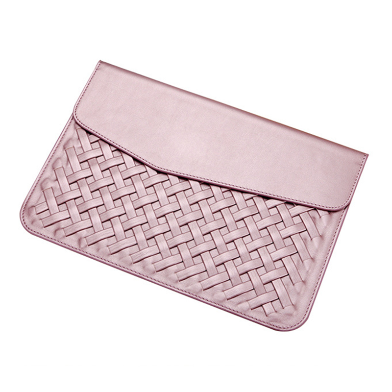2017 Weaving PU Leather Durable Luxury Case for Macbook Air 12 inch Minimalist Style Fashion Protective Case for Macbook Pink