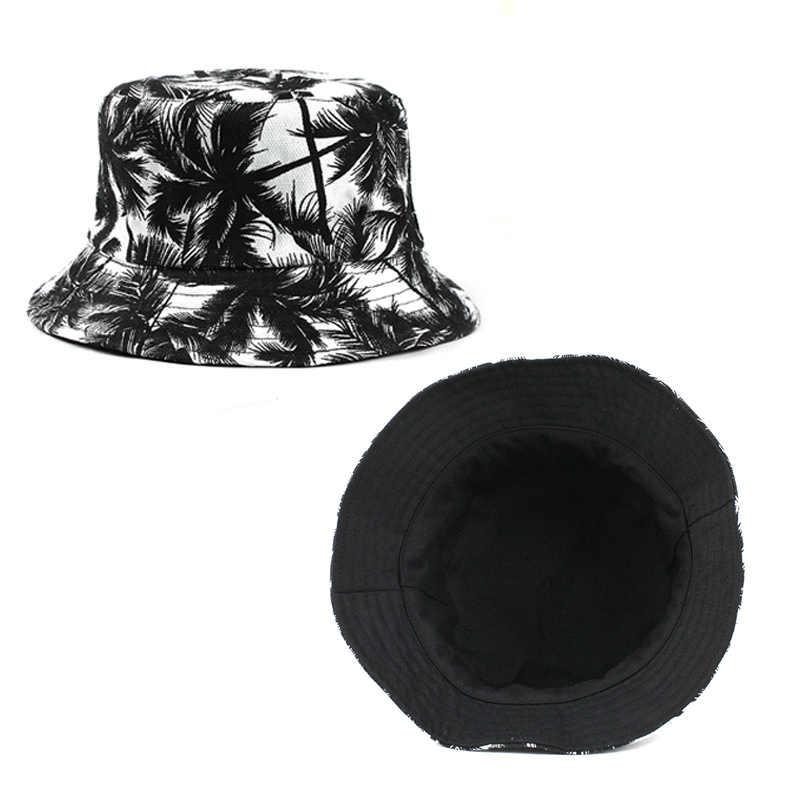 [FLB] kova kapağı Adam Kadın Unisex pamuk Muz Şapka Bob Kapaklar Hip Hop Hindistan Cevizi Ağacı spor Yaz bayanlar plaj kovası şapka F376