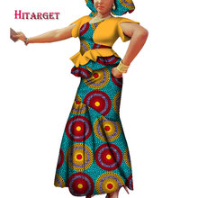 2019 african dresses for women print clothing Dashiki African Wax Print Splice Draped Accessory Dresses Clothes WY3699